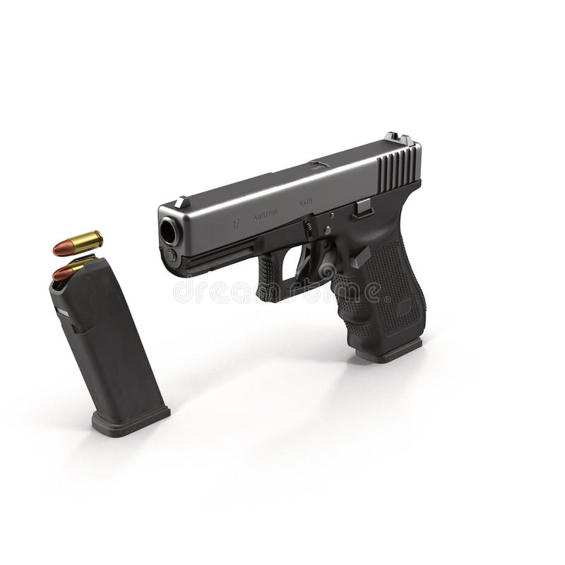 Halvautomatisk pistol på den vita illustrationen 3D stock illustrationer