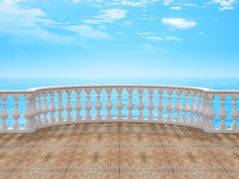Halvcirkelformig balustrad med tolkningen för tegelplattagolv 3d arkivbild
