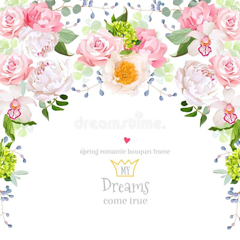 Halvcirkelgirlandram med den vita pionen, rosa färgros, orkidé, nejlika, grön vanlig hortensia, eucaliptussidor royaltyfri illustrationer