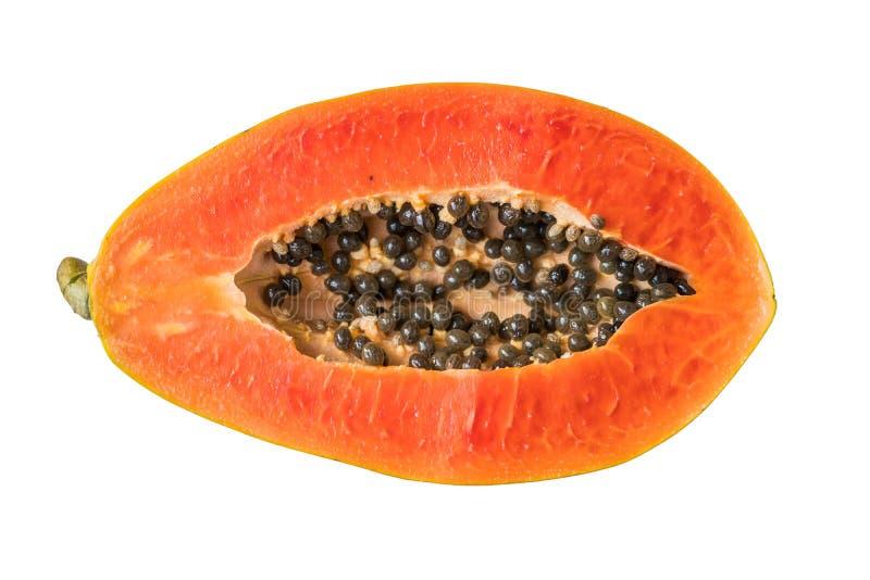 Halve besnoeiings rijpe papaja met zaad en blad op witte achtergrond royalty-vrije stock afbeelding