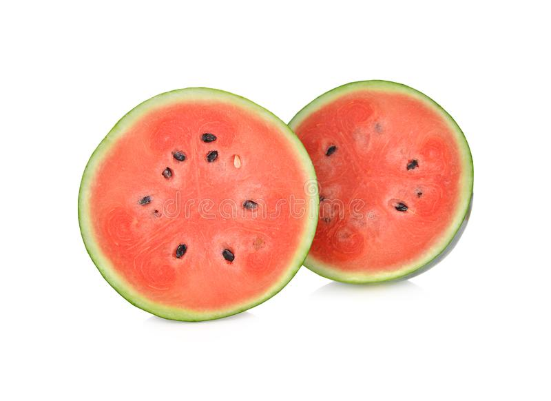 Halve besnoeiings verse watermeloen met zaden op witte achtergrond royalty-vrije stock afbeeldingen