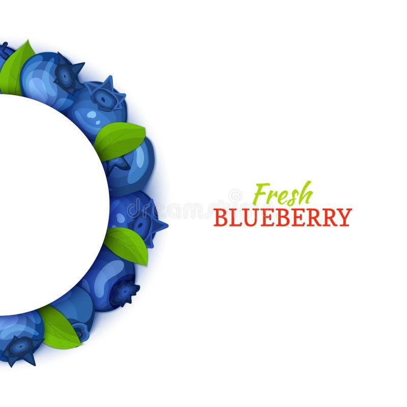 Halve cirkel gekleurd die kader uit heerlijk bosbessenfruit wordt samengesteld Vectorkaartillustratie Blauw bosbessen half-round  royalty-vrije illustratie