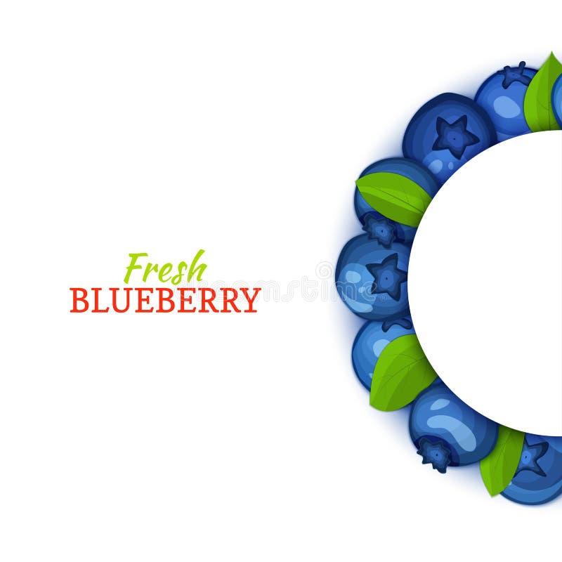 Halve cirkel gekleurd die kader uit heerlijk bosbessenfruit wordt samengesteld Vectorkaartillustratie Blauw bosbessen half-round  stock illustratie