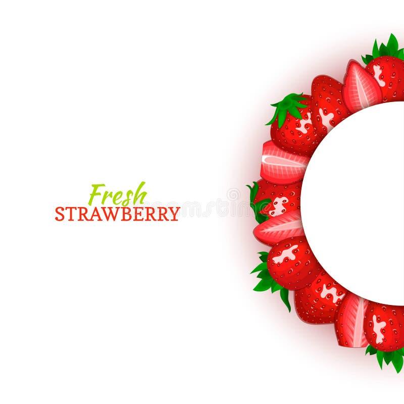 Halve cirkel gekleurd die kader uit heerlijk rood aardbeifruit wordt samengesteld Vectorkaartillustratie Halve aardbeibes royalty-vrije illustratie