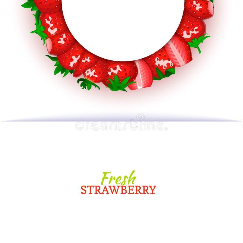Halve cirkel gekleurd die kader uit heerlijk rood aardbeifruit wordt samengesteld Vectorkaartillustratie Halve aardbeibes stock illustratie