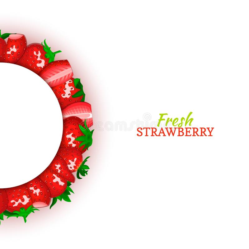 Halve cirkel gekleurd die kader uit heerlijk rood aardbeifruit wordt samengesteld Vectorkaartillustratie Halve aardbeibes vector illustratie