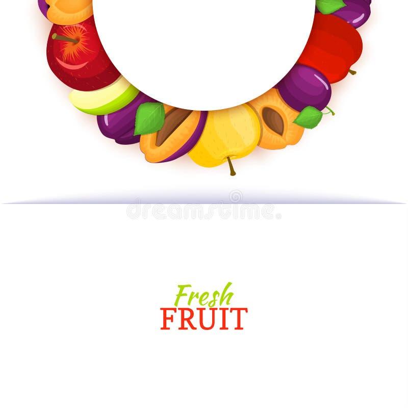 Halve cirkel gekleurd die kader uit het fruit van de heerlijke appelpruim wordt samengesteld Vectorkaartillustratie Appelen, half royalty-vrije illustratie