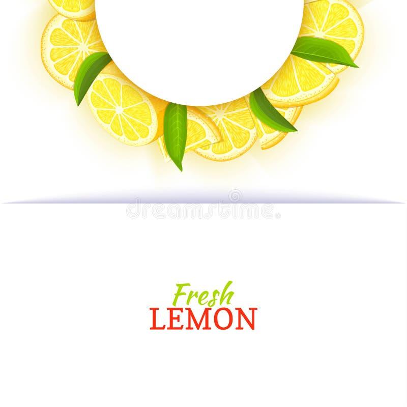 Halve cirkel wit die kader uit heerlijke tropische citroen wordt samengesteld Vectorkaartillustratie Gele half-round kalkcitrusvr royalty-vrije illustratie