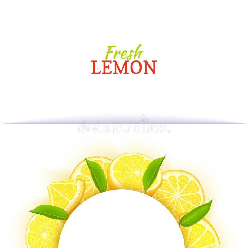 Halve cirkel wit die kader uit heerlijke tropische citroen wordt samengesteld Vectorkaartillustratie Gele half-round kalkcitrusvr vector illustratie