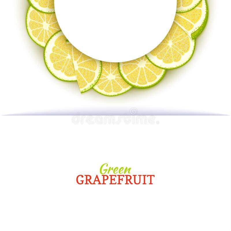 Halve cirkel wit die kader uit heerlijke tropische groene grapefruit wordt samengesteld Vectorkaartillustratie Halve pompelmoesci stock illustratie