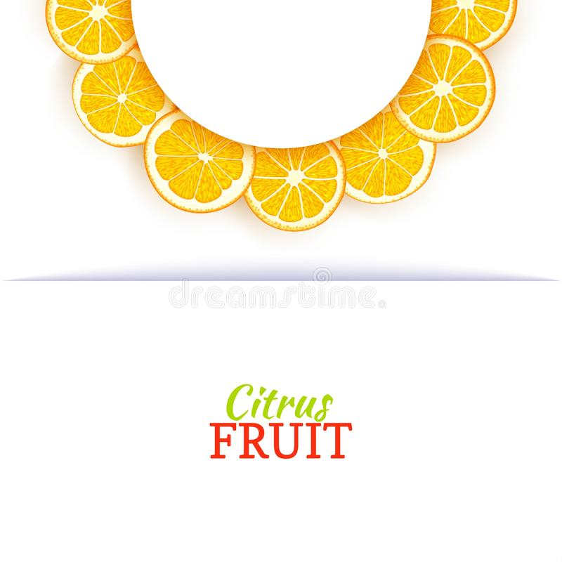 Halve cirkel wit die kader uit heerlijke tropische sinaasappelen wordt samengesteld Vectorkaartillustratie Oranje mandarin halve  royalty-vrije illustratie