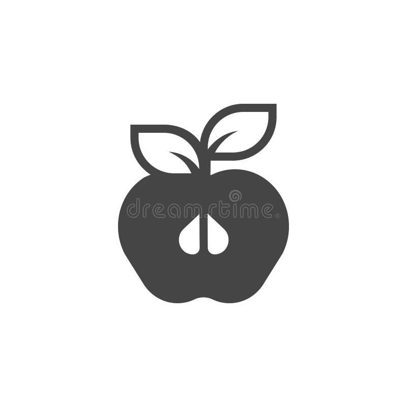 Halve die appel met blad glyph pictogram op witte achtergrond wordt geïsoleerd Fruit zwart vlak etiket Organisch gezond voedselem stock illustratie