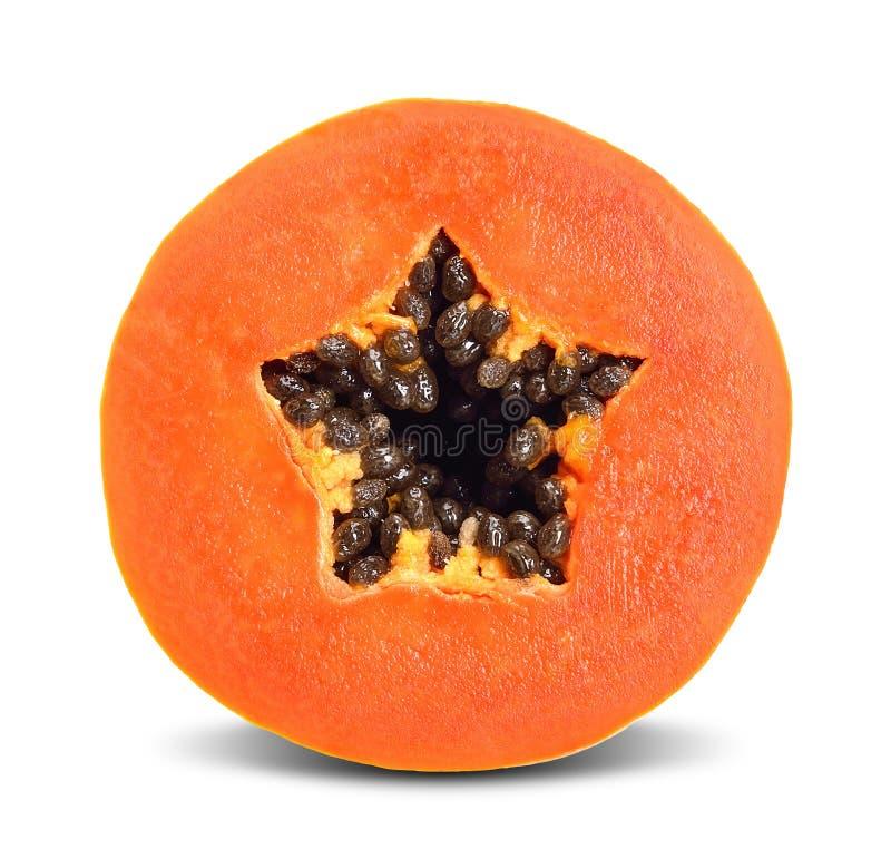 Halve die papaja op wit met het knippen van weg wordt geïsoleerd stock afbeeldingen