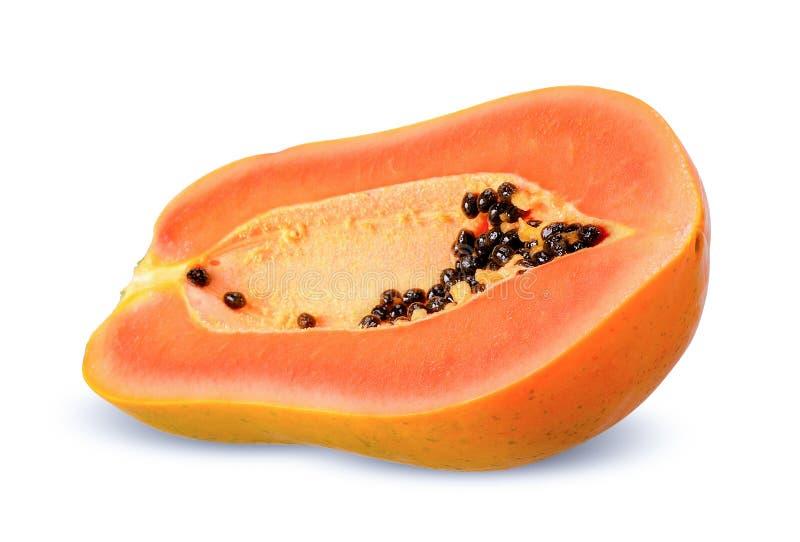 Halve die papaja op witte het knippen weg wordt geïsoleerd royalty-vrije stock afbeeldingen
