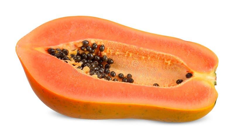 Halve die papaja op witte het knippen weg wordt geïsoleerd stock foto's