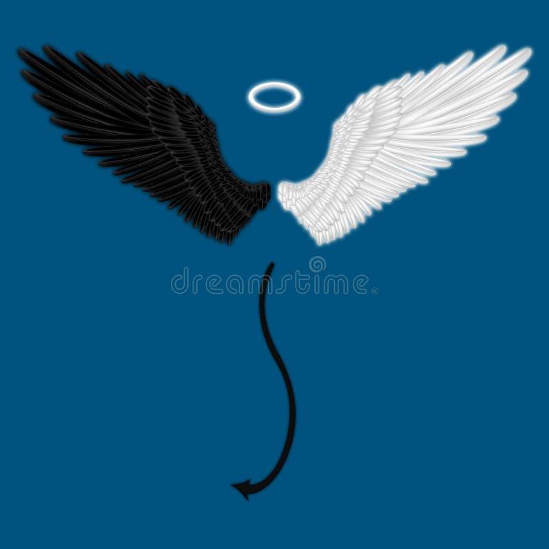 Halve engel en halve duivelsvleugels stock illustratie