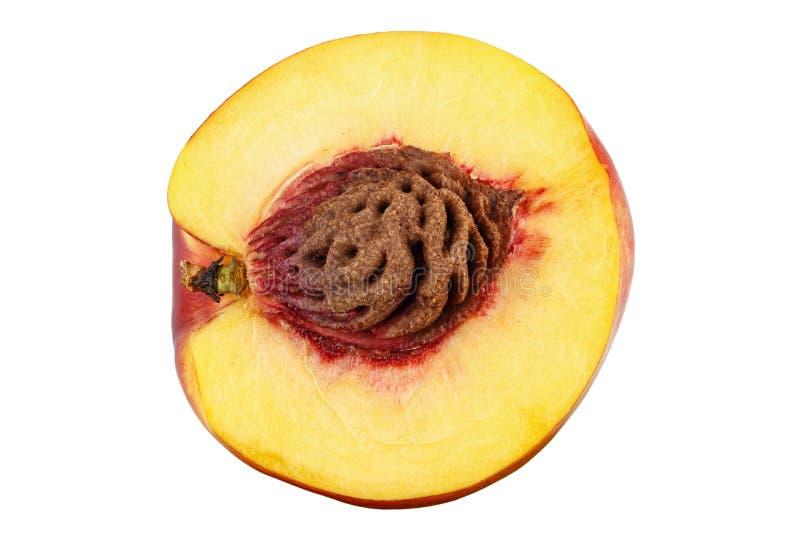 Halve geïsoleerde nectarine stock foto's