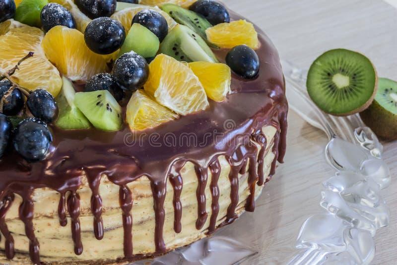 Halve honingscake met chocolade en fruitdruiven, kiwi, sinaasappel stock fotografie