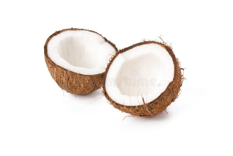 Halve kokosnoot twee royalty-vrije stock fotografie