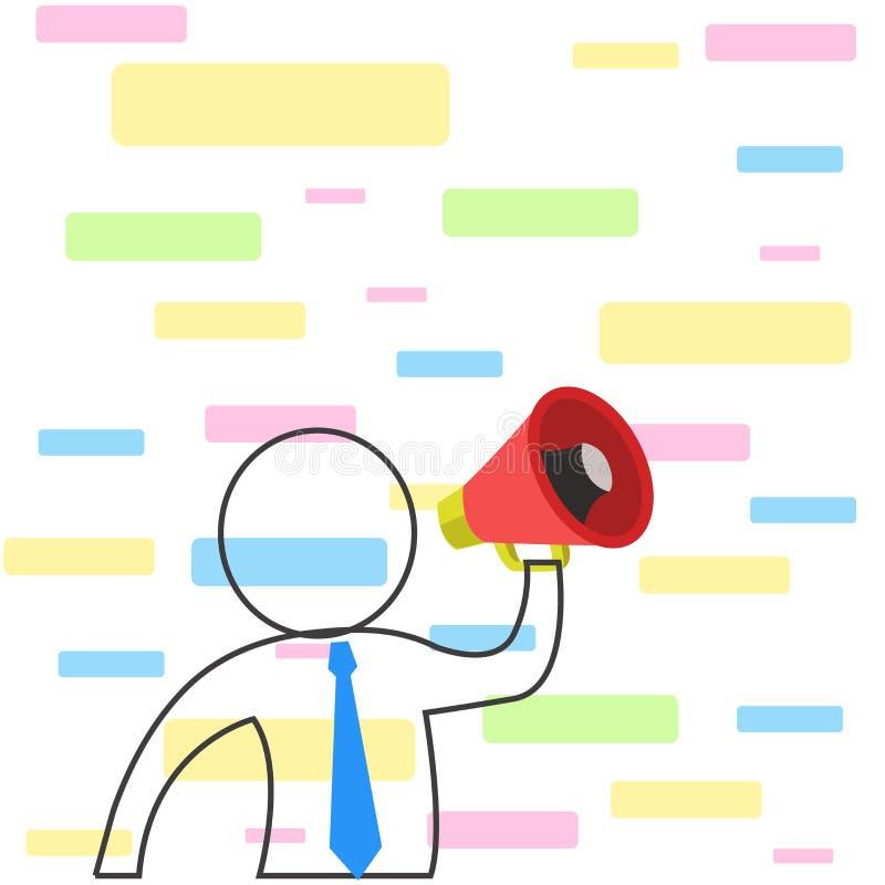Halve Lengtemens in Overzichtsstijl die Gekleurde Band dragen en door Luidspreker in zijn Linkerhand communiceren om te maken stock illustratie
