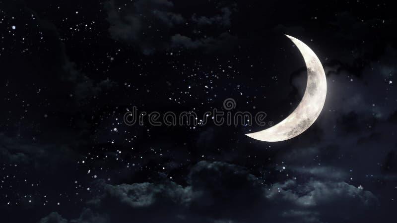 Halve maan in de nachthemel royalty-vrije stock foto's