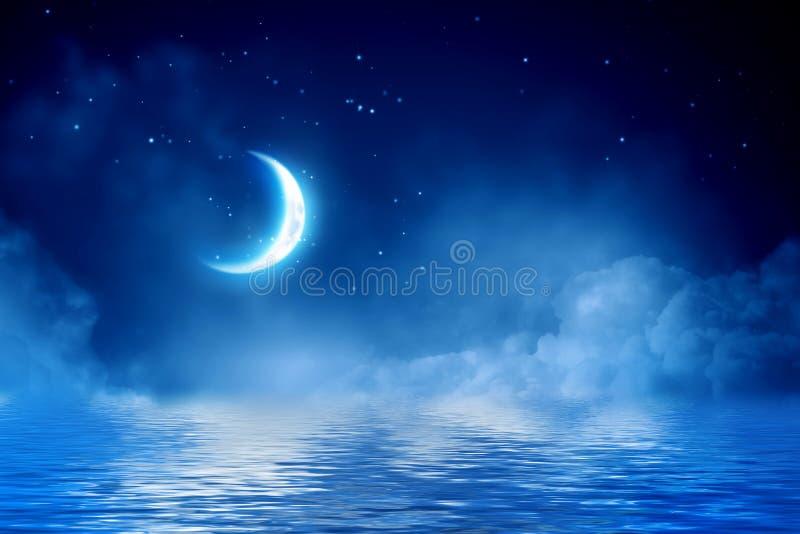 Halve maan in sterrige hemel vector illustratie