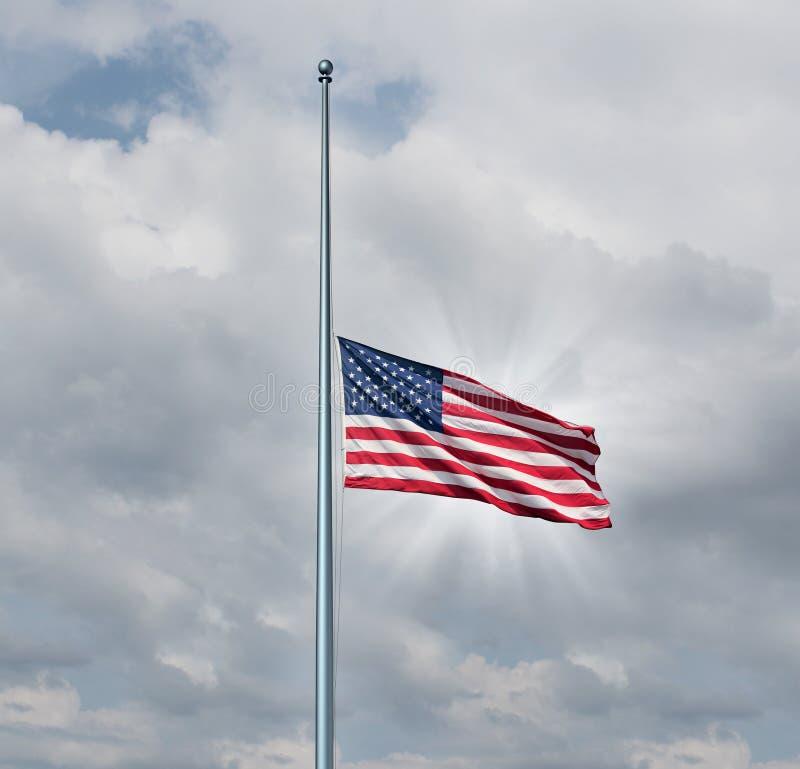 Halve Mast Amerikaanse Vlag vector illustratie