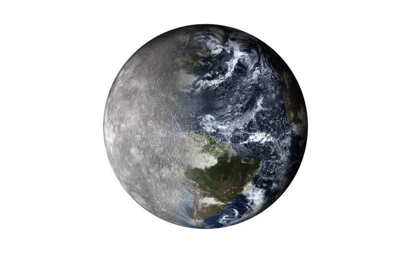 Halve planeet Mercury met halve die Aardeplaneet van zonnestelsel op witte achtergrond wordt geïsoleerd Dood van de planeet stock illustratie
