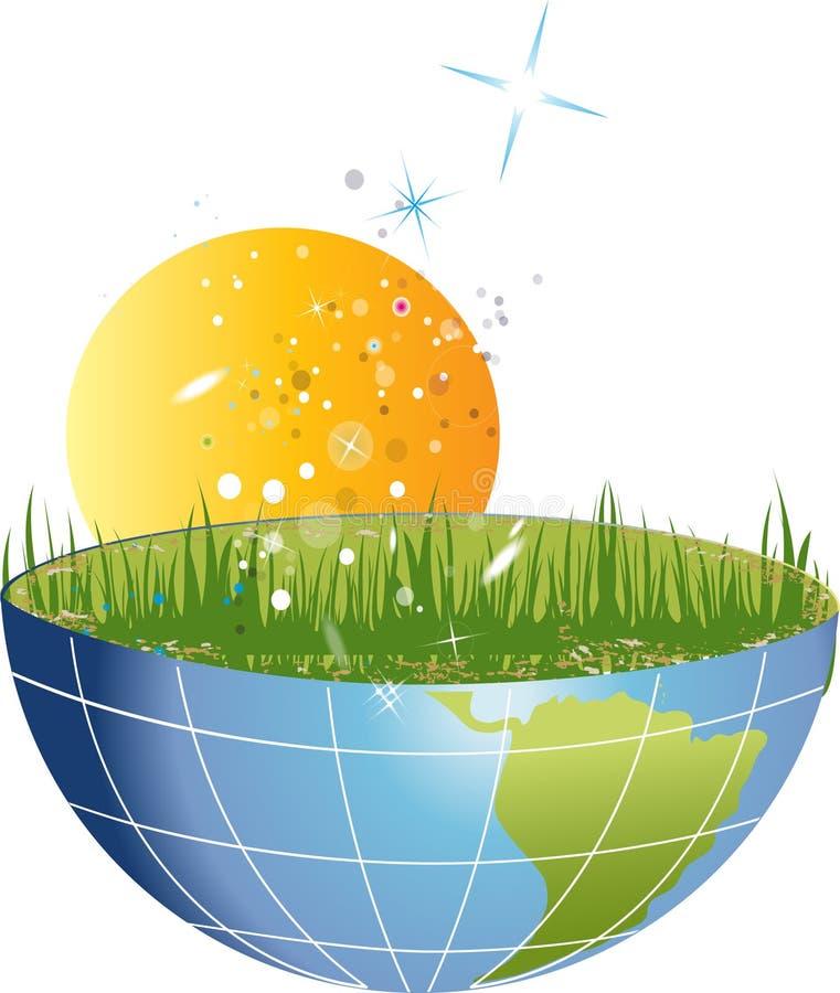 Halve planeet met gras en zon royalty-vrije illustratie