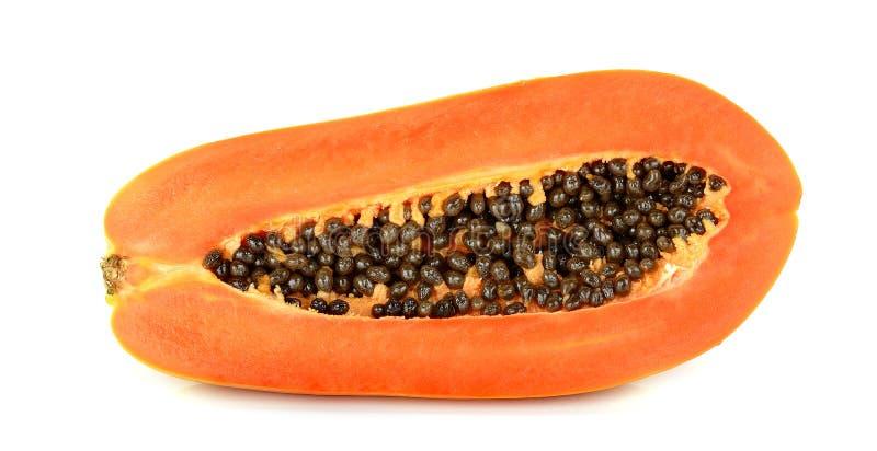 Halve Rijpe die papaja op de witte achtergrond wordt geïsoleerd stock afbeeldingen