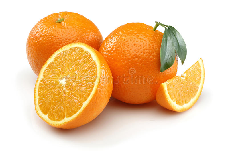 Halve Sinaasappel twee en Sinaasappel stock foto