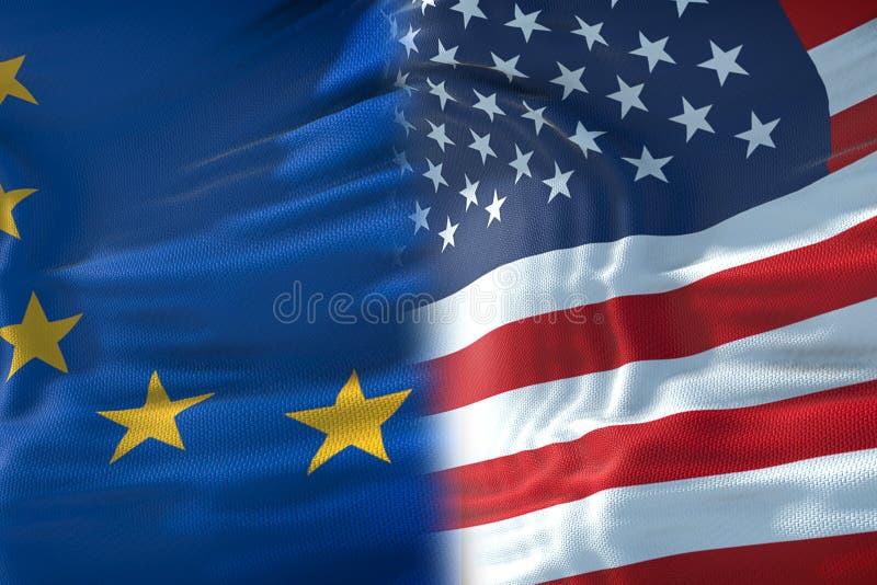 Halve vlaggen van de Verenigde Staten van Amerika en halve Europese Unie F vector illustratie