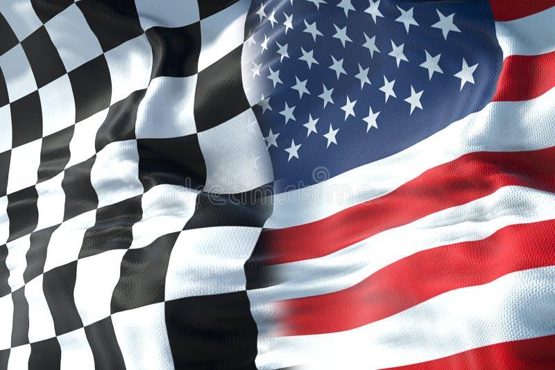 Halve vlaggen van geruite vlag, eindras en halve Verenigde Staten van stock afbeelding