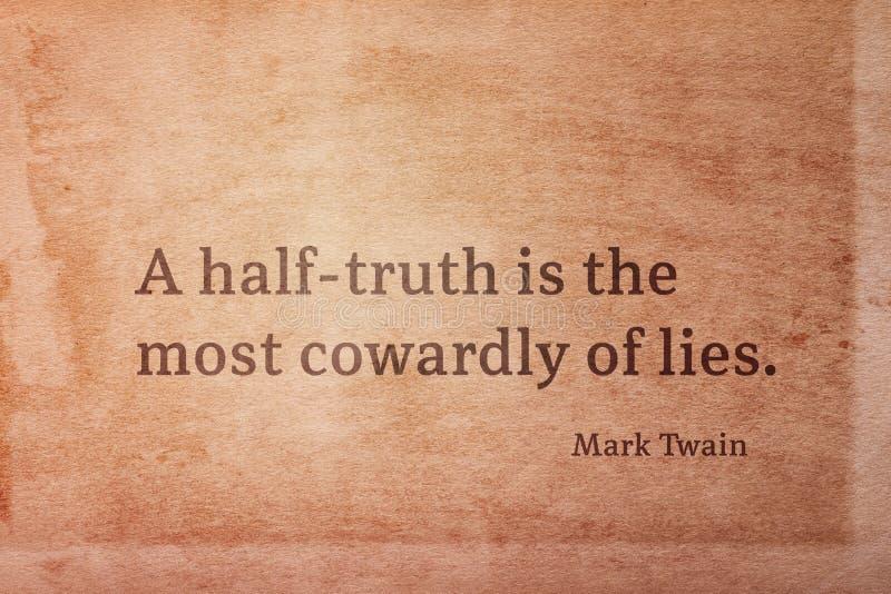 Halve waarheid Twain stock afbeelding