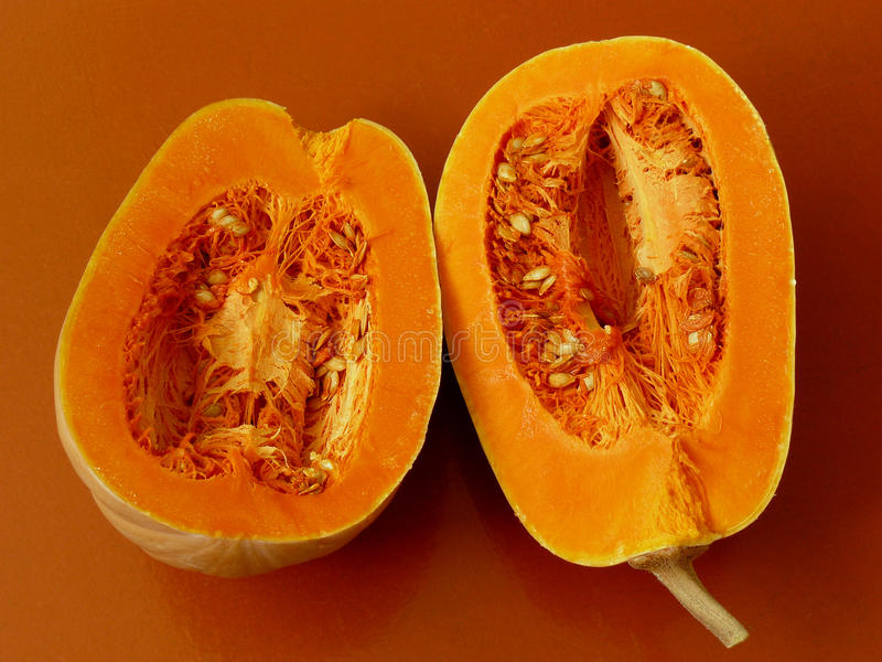Halved butternut squash royalty free stock image