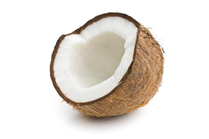 The halved coconut. On white background stock photos