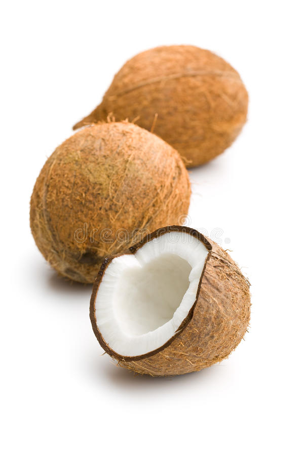 The halved coconut. On white background stock photo