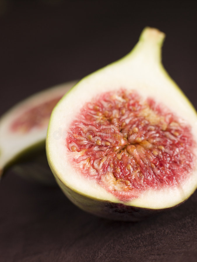 Halved Fresh Fig. Close Up Of Halved Fresh Fig stock images