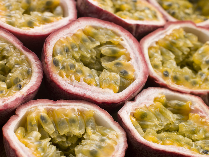 Halved Passion Fruit. Close Up Of Halved Passion Fruit stock image