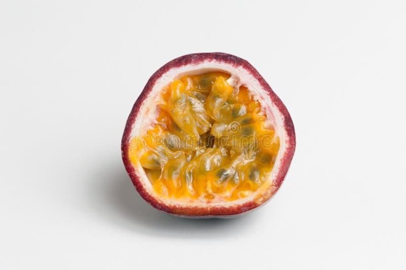 Halved passion fruit. On white background stock image