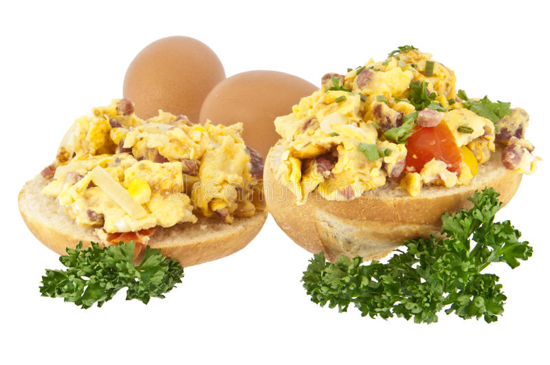 Download Halved Roll With Scrambled Eggs Stock Photo - Image: 23717132