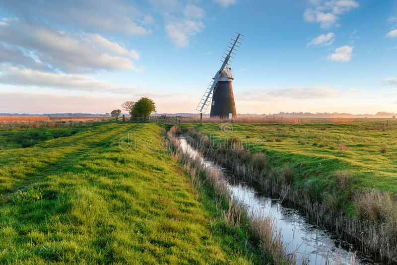 Halvergate Windmill near Great Yarmouth stock photos