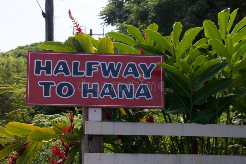 Halverwege aan Hana stock afbeelding