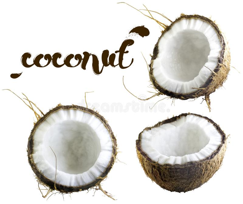 Halves of coconut on a white background stock photo