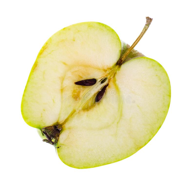 Halves of a fresh green sliced apple. Studio Photo stock photos
