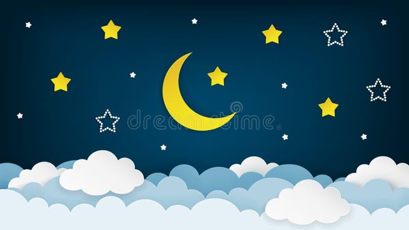 Halvmåne, stjärnor och moln på den mörka bakgrunden för natthimmel Pappers- konst Nattplatsbakgrund vektor stock illustrationer
