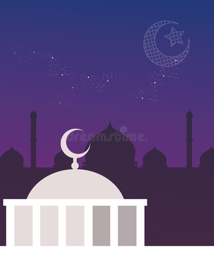 Halvmånformig för himmel för moskékupolnatt och stjärnaislam vektor illustrationer