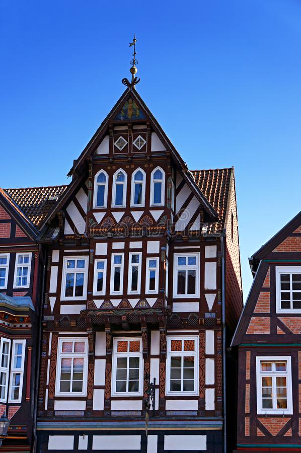 Halvtimmerhus i Celle, Tyskland royaltyfri foto