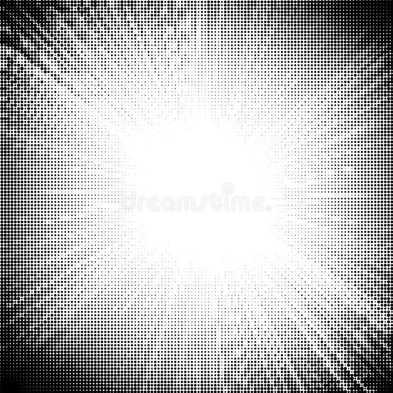 Halvton prucken Sunbursttextur stock illustrationer