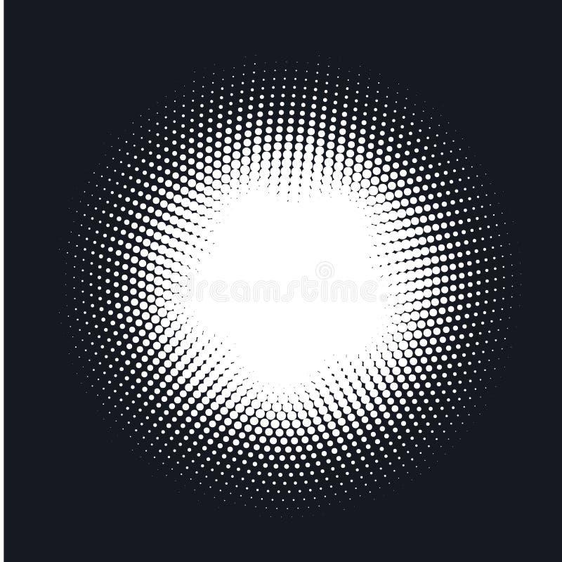 Halvton prucken vektorabstrakt begreppbakgrund, prickmodell i cirkelform vektor illustrationer